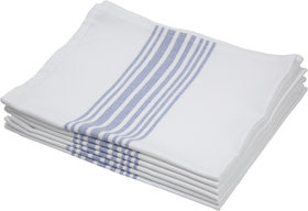 Airwill Cotton Large Kitchen Towel, Dishcloths, Wiping Cloths (50 X 70 Cm, White,Blue) - Pack Of 4
