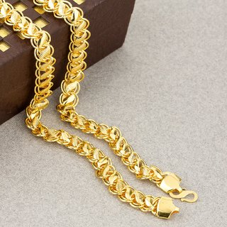 Golden Designer Chain Necklace For Men And Boys For Daily Partywear Suitable For All Fashion Attractive Gold Plated