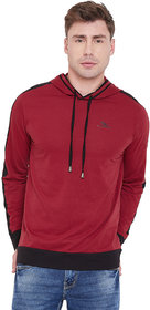 Men Maroon Casual Hooded T Shirt