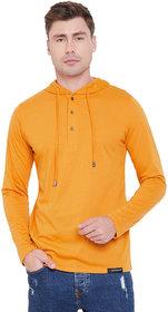 Men Yellow Henley Hooded T-Shirt