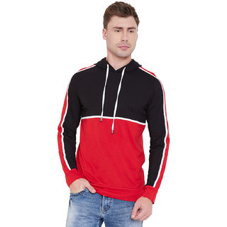 Men Black Red Casual Hooded T Shirt