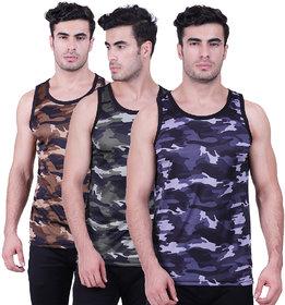 Starscollection Men's Sleeveless Gym Vest Men's Multicolor Cotton Wear ( 3 Pcs Of Pack)