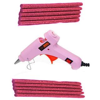 Pink Glue Gun With 10 Pink Glitter Stick (Leak Proof)