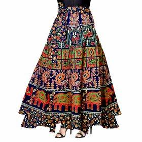 Frionkandy Cotton Multicolor A-Line Full Length Wrap Around Skirt - Free Size (Length-38, Waist Upto-46)