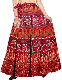 Frionkandy Cotton Red A-Line Full Length Wrap Around Skirt - Free Size (Length-38, Waist Upto-46)