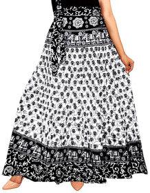 Frionkandy Cotton Black A-Line Full Length Wrap Around Skirt - Free Size (Length-38, Waist Upto-46)