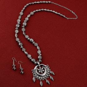 Silvershine Charm Silver Oxidised Pendant Designer Mala Set Jewellery For Women Girl