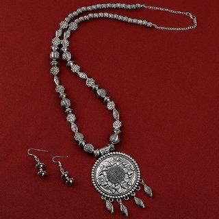 Silvershine Amazing Oxidised Pendant Designer Mala Set Jewellery For Women Girl