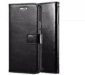 D G Kases Vintage Pu Leather Kickstand Wallet Flip Case Cover For Samsung Galaxy A30 - Black