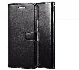 D G Kases Vintage Pu Leather Kickstand Wallet Flip Case Cover For Samsung Galaxy J6 Plus - Black