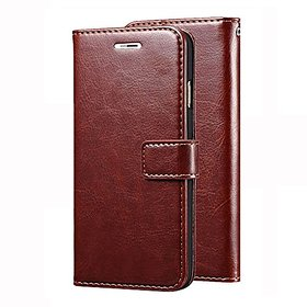 D G Kases Vintage Pu Leather Kickstand Wallet Flip Case Cover For Samsung Galaxy J7 2018 - Brown