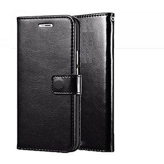 D G Kases Vintage Pu Leather Kickstand Wallet Flip Case Cover For Lava Z80 - Black