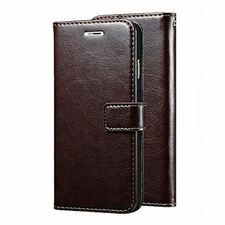 D G Kases Vintage Pu Leather Kickstand Wallet Flip Case Cover For Samsung Galaxy J7 2018 - Coffee Brown