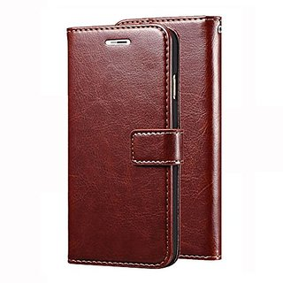 D G Kases Vintage Pu Leather Kickstand Wallet Flip Case Cover For Samsung Galaxy J2 Ace - Brown