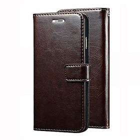 D G Kases Vintage Pu Leather Kickstand Wallet Flip Case Cover For Tecno I3 - Coffee Brown