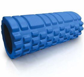 House Of Quirk Bumpy Foam Roller, Solid Core Eva Foam Roller With Grid/Bump Texture For Deep Tissue Massage - Blue
