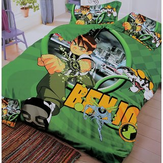 Kids Attrative Double Bed Glace Cotton Printed Bedsheet . One Bedsheet 90100 With Two Pillow Cover 1+2.