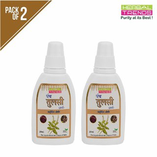 Herbal Trends Panch Tulsi Drops -20Ml- Natural Immunity Builder- Pure ,Unadulterated, No Side Effects-Pack Of 2