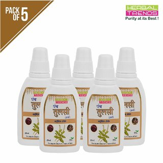 Herbal Trends Panch Tulsi Drops -20Ml- Natural Immunity Builder- Pure ,Unadulterated, No Side Effects-Pack Of 5