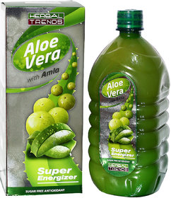 Herbal Trends Aloe Vera With Amla Juice-1000Ml- Super Energizer - Pure- From Himachal Pardesh