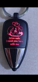 Drive Safe Message With Couple Image With Multicolor Led Light Keychain Sold By Evershine Gifts And Household