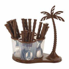 Gold Opera Premium Antic Coconut Cutlery Set Of 24 Pieces (Brown)
