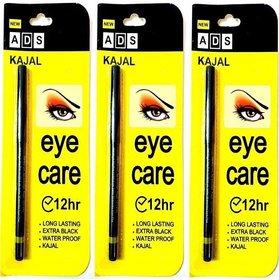Ads 12 Hr Long Last Eye Care Soft Kajal - Pack Of 3