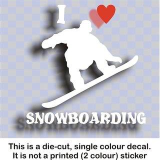 AutoaccessoriesDeal2018 I Love Snowboarding - Vinyl Decal Sticker Graphic White