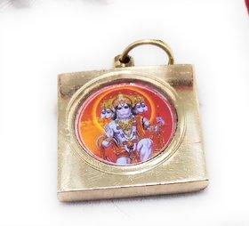 Ashtadhatu Gold Plated Square Panchmukhi Hanuman Yantra Locket With Mantra