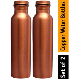 Ensure Pure Lacquer Coatted With Matt Finish Leak Proof Copper Bottle 1000 Ml Pack Of 2 (Brown)