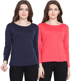 Haoser Multi Colour Combo Of 2 T Shirts For Women And Girls