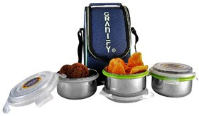 Granify Lunch Box   3 Steel Containers With Bag Cover
