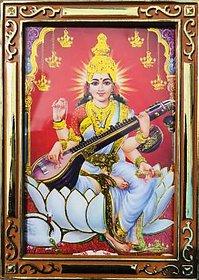 Maa Saraswati Photo With Gloden Frame