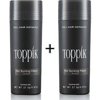 Toppik Hair Building Fiber Black 27.5 New Bottle Hair Fiber For Hair Damage Hair Loss Concealer!! (Black) Pack Of 2