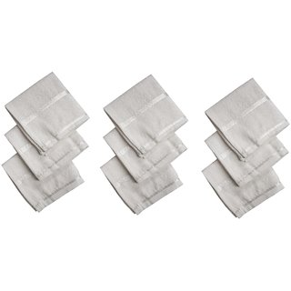 Utkarsh (Set Of 9) Pcs Women's/Girl's Pure Soft Cotton White Color Embroidery Design Towel Hankies