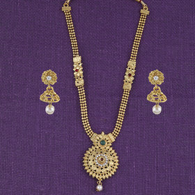 Silver Shine Classic Look Crystal Hanging Long Set Gold Plated Jewellery For Women And Girls