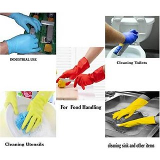 Eastern Club Cleaning Gloves Reusable Rubber Hand Gloves, Stretchable Gloves For Washing Cleaning Kitchen (1 Pair)