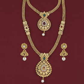 Silver Shine Traditional Long Set Gold Plated Two Layers Red And Green Jewellery For Women And Girls