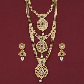 Silver Shine Gold Plated Three Line With Daimond Long Set Jewellery For Women And Girls