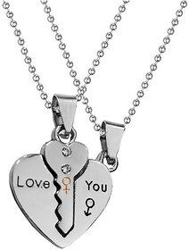 Men Style Valentine Gift Couple Heart Lock Key Silver Stainless Steel Necklace Pendant