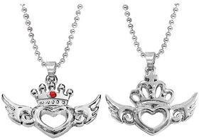 Men Style Valentine Gift Couple King Queen Crown Silver Stainless Steel Necklace Pendant