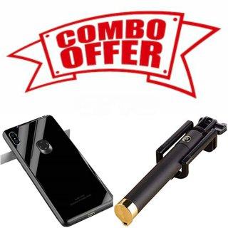 Ogw Back Case Cover Redmi 8A Glass Black With Selfee Stick