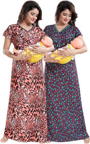 Be You Peach-Green Sarina Satin Women Maternity Nighty For Feeding (Pack Of 2) - Free Size