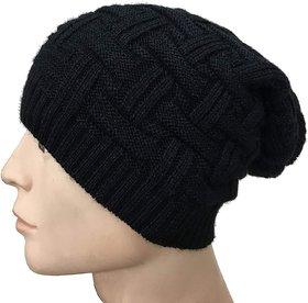 Black Long Woolen Slouchy Beanie Cap