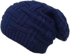 Navy Long Woolen Slouchy Beanie Cap