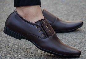 Oora Men's Formal Tan Colour Faux Leather Lace-Up Dress Shoes