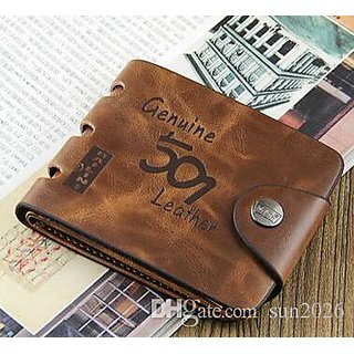 Fashlook Unique Leatherite Brown  Bi-fold Wallet For Men (Synthetic leather/Rexine)