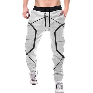 Odoky Grey Cotton Blend Geometric Design Running Trackpant For Men
