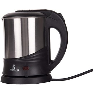 Homeberg Appliances Durable Stainless Steel Electric Kettle Hk 131 Boil Safe For Heats Up Water- Silver/Black