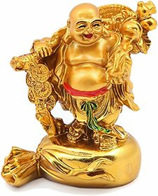 Indo-Mart Original Laughing Buddha Of Height 9 Cm With Coins, Fengshui Lucky Decorative Piece For Wealth And Happiness